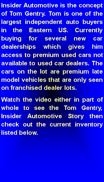 Text Box: Insider Automotive is the concept of Tom Gentry. Tom is one of the largest independent auto buyers in the Eastern US. Currently buying for several new car dealerships which gives him access to premium used cars not available to used car dealers. The cars on the lot are premium late model vehicles that are only seen on franchised dealer lots.  
